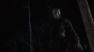 ...the same could be said of Jason's muteness and complete lack of social ties. Michael Myers has a family to kill. Freddy Kruger has his sick sense of humor. Both wear masks (physical or ethereal), but neither is so thoroughly denied a place in the human scheme of things as Jason. Michael's crazy. Freddy's a child molester who died with unfinished work. But with his blank, pale moon of a face, Jason signals to us that he is something totally and completely Other than either of them...or any of us.