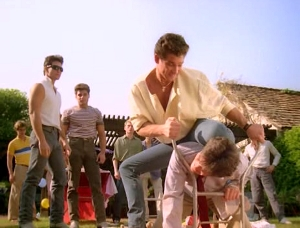 It's all fun and games until someone gets their ass kicked by a douche in a puffy shirt.