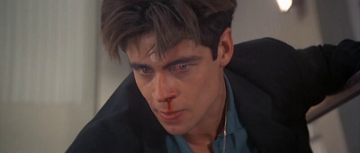 Not many men can rock a nosebleed and bloodshot eyes like Benicio Del Toro.