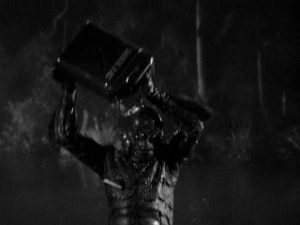 Apt Visual Metaphor Theater Presents: The Creature from the Black Lagoon, Self-Immolating.